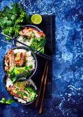 Coconut and lemongrass asian bowls with slowcooked pork belly and flash-fried greens