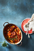 Lamb knuckle and apricot stew