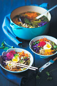 Vegetarian ramen soup with boiled egg