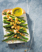 Grilled asparagus salad with lemon croutons