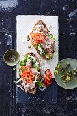 Tuna fish sandwich with caper cream