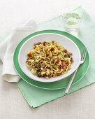 Orecchiette with almonds and tuna fish
