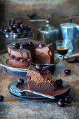 Chocolate mousse pie with cherries
