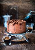 Chocolate cake with whipped chocolate ganache