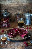 Chocolate pie with cherry and frangipane