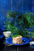 Christmas salad with corn, apple and fish