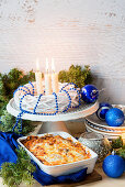 Meat casserole with a cheese crust