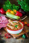 Braised chicken drumsticks with vegetables
