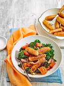 Chipolatas with Kale and Lentil Salad