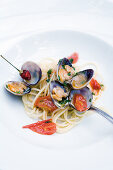 Spaghetti with clams, cherry tomatoes, garlic and parsley