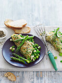 Gluten free Omelette with Asparagus and Peas