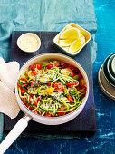 Zucchini and tomato spaghetti (Low carb)