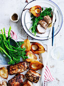 Fennel-Crusted Pork Fillets with Pear and Broccolini