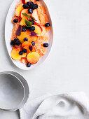 Peaches and blackberries with ginger-kombucha granita