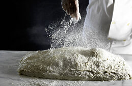 Ciabatta bread dough sprinkled with flour