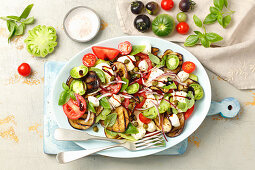 Caprese with grilled aubergine