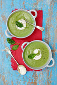 Spinach and broccoli soup with creme fraiche