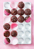 Beetroot muffins with chocolate chunk