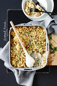 Bread casserole with tuna and cauliflower