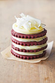 Red velvet biscuits with white chocolate ganache