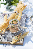 Salmon rillettes with fennel seed lavosh