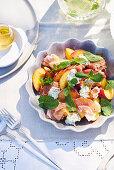 Peach, minted ricotta and prosciutto salad