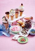 Vanilla ice-cream and dark chocolate melts, cotton candy, honeycomb and chocolate candies