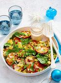 Kumara, corn and spinach salad