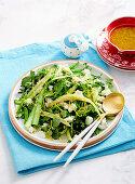 Asparagus, beans and goats curd salad