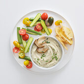 Porcini mushroom dip with raw vegetables and grilled bread