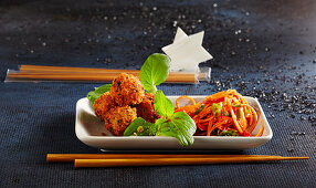 Christmas pak choy salad with shrimp balls and carrots (Asia)