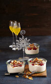 Raspberry cream cheese with crunchy almonds (Christmas)