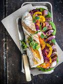 Marinated tuna fish sandwich