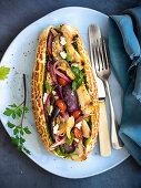Caponata and baked sheep's ricotta sandwich