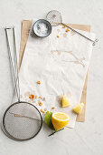 Fish-shaped fat stains, lemon and various sieves