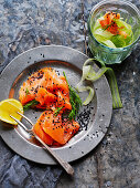 Smoked salmon and celery ribbons