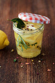 Preserved lemon slices with herbs and spices