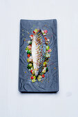 Baked horse mackerel with sea salt, pepper, spring onions, leek and chives