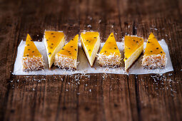 Coconut cheesecake with passion fruit jelly