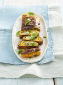 Frittata rolls with aubergines and cheese