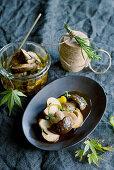 Porcini mushrooms in a herb marinade