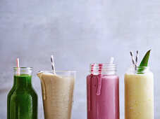 Green Super Juice, Almond and Avocado Protein Smoothie, Creamy Raspberry Smoothie and Summer Sunrise Smoothie