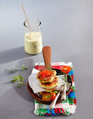 Bass fritters with a mustard and dill sauce and trout caviar