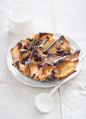 Mini bread and butter pudding with cranberries