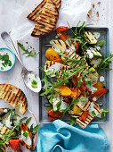 Vegetable, BBQ Halloumi and Rocket Salad
