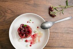 Ice cream cake with cherries