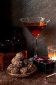 Bourbon Manhattan Truffles with classic Manhattan Cocktail