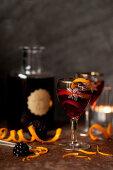 Sloe gin served with a twist of orange peel