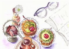 Cupcakes and chocolate with coffee next to a book and a pair of glasses (illustrations)