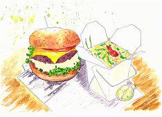 A hamburger next to a box of take-away food (illustration)